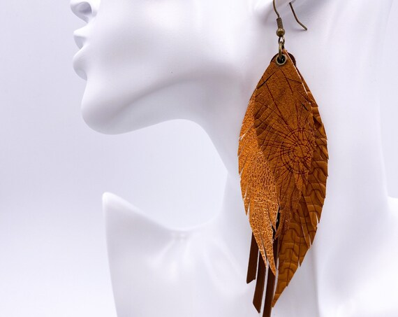 Camel Leather Feather Earrings, Layered Leather, Layered Feather, Genuine Leather, Brown and Copper Leather Earrings