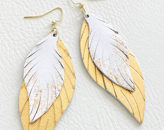 Gold Leather Feather Earrings, Glitter Leather Earrings, Gold & White Layered Leather Earrings, Boho Earrings, Gold Leather Feathers