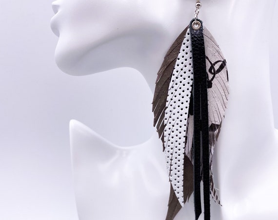Gray Graffiti Leather Feather Earrings, Layered Leather, Layered Feather, Genuine Leather Black and Gray Leather Earrings