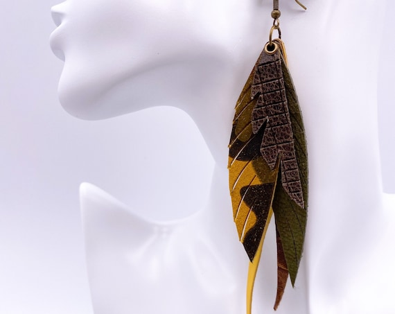 Camo Leather Feather Earrings - Fall Leather Earrings, Olive, Moss Feather Earrings, Mustard Feather Earrings, Camouflage Earrings