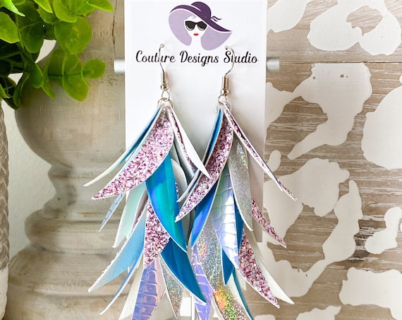 Iridescent Faux Leather Earrings - Faux Leather Feather Earrings, Glitter Earrings, Leaf Earrings, Purple & Turquoise Earrings