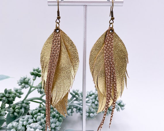Safari Gold Leather Feather Earrings, Genuine Leather, Gold Metallic Leather, Feather and Fringe Earrings, Gold and Taupe Leather Feathers