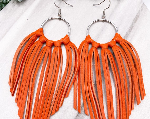 Orange Leather Fringe Earrings, Pumpkin Leather Fringe, Burnt Orange Leather Tassel, Teardrop Leather Fringe, Genuine Leather