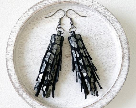 Black Leopard Leather Tassel Earrings - Leather Fringe Earrings, Genuine Leather Earrings, Black Leather Earrings, Boho Leather Earrings