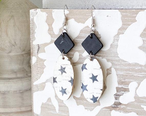 Black & White Oval Leather Earrings, Boho Earrings, Cork Leather Earrings, Black and White Earrings, Dangle Leather Earrings
