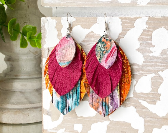 Bright Colored Leather Earrings - Magenta Leather Feather Earrings, Layered Leather Earrings, Orange Fringe Earrings, Boho Earrings