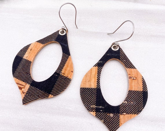 Black Buffalo Check Cork On Leather Hoop Earrings - Genie Hoop Earrings, Cork Leather Earrings, Genuine Leather Earrings