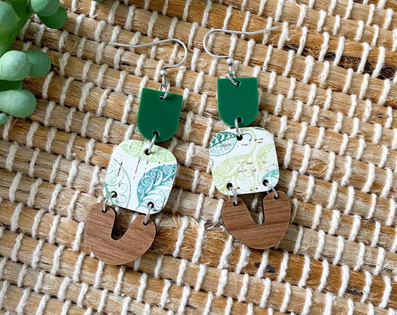 Boho Leather Earrings - Modern Leather and Wood Earrings, Wood and Leather Leaf Print Earrings, Summer Earrings, Leather Leaf Earrings
