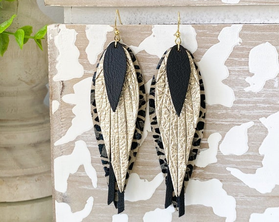 Black and Gold Feather Leather Earrings - Leopard Leather Earrings - Fringed Leather Feather Earrings - Unique Feather Earrings, 4 Inches