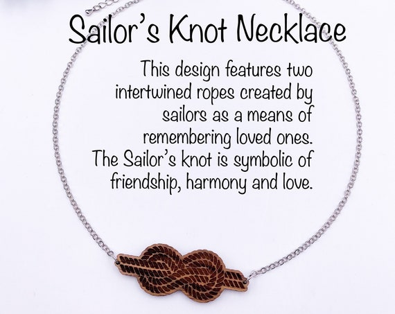 Sailor's Knot Necklace, Walnut Wood, Laser Cut, Laser Engraved, Nautical, Symbolic Necklace, Gift For Her, Sailor's Knot, Pendant Necklace