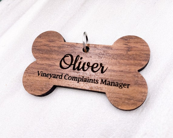 Personalized Dog Tag - Custom Walnut Wood ID Tag, Engraved Dog Name Tag, Personalized, Dog Bone, Name Tag, ID Tag