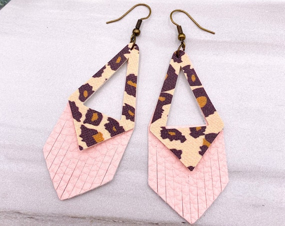Pink Cheetah Faux Leather Earrings - Pink Leopard Leather Earrings, Blush Pink Earrings, Pink Layered Leather Earrings