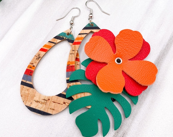 Tropical Cork and Leather Earrings, Monstera, Tropical Leaf, Leather Teardrop, Hollow Teardrop, Stripes, Flower, Hawaii, Vacation, Caribbean