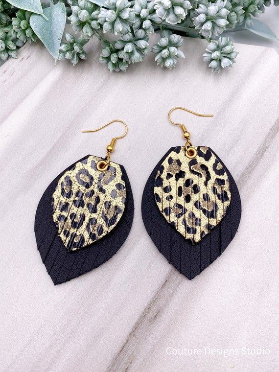 Solid Gold Leopard Leather Fringe Earrings, Leather Fringe, Boho Leather, Layered Leather, Black Leopard, Gold Cheetah, Black & Gold