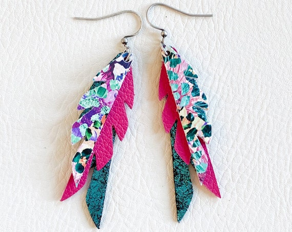 Aqua Leather Feather Earrings, Turquoise and Hot Pink Feather Leather Earrings, Mini Feather Earrings, Boho Earrings, Leather Feathers