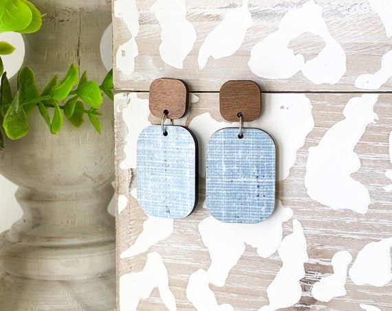 Square Wood Earrings, Blue Linen Print Wood Earrings, Square Earrings, Geometric Stud Earrings, Boho Earrings, Post Earrings