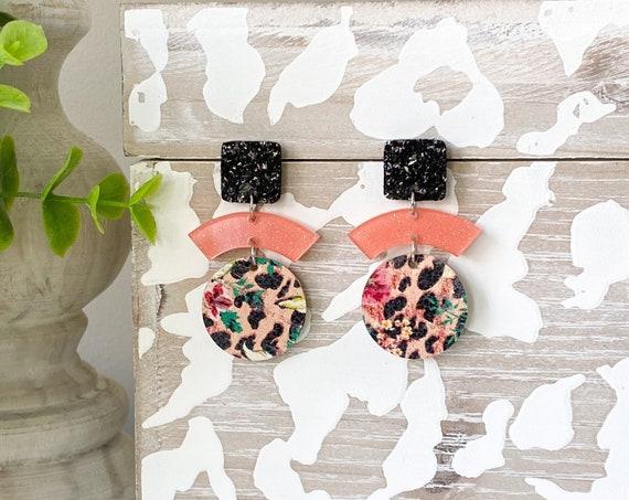 Modern Coral Tropical Earrings, Boho Earrings, Geometric Leather Earrings, Black and Coral Earrings, Jungle Print Earrings