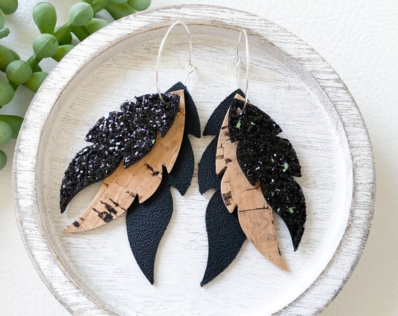 Black Layered Feather Earrings - Leather Feather Hoop Earrings, Boho Earrings, Glitter Leather Earrings, Cork Hoop Earrings