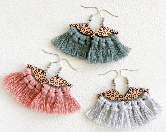Pastel Leopard Macrame Earrings, Boho Earrings, Macrame Earrings, Fringe Earrings, Wood Macrame Earrings, Cheetah Fan Macrame Earrings
