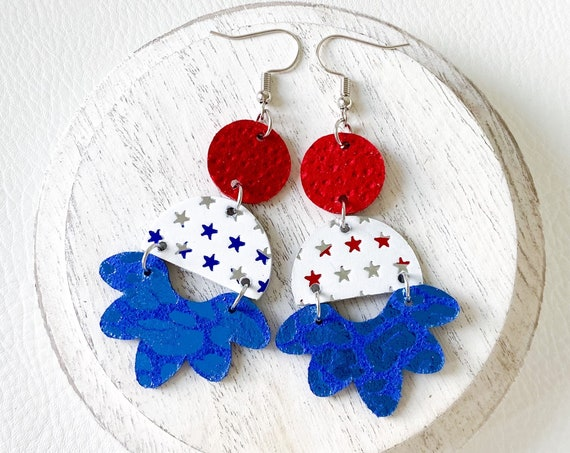 Patriotic Leather Earrings - Geometric Red White and Blue Earrings, 4th of July Earrings, Fourth of July Leather Earrings, Boho Earrings