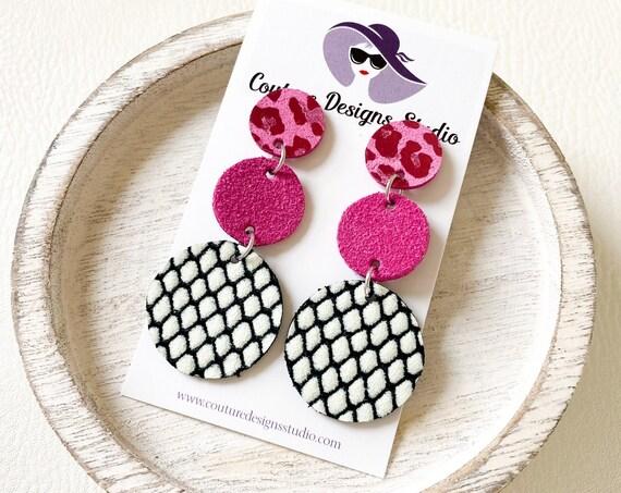 Circle Dangle Earrings, Modern Circle Earrings, Circle Trio Leather Post Earrings, Boho Earrings, Pink Black and White Circle Studs