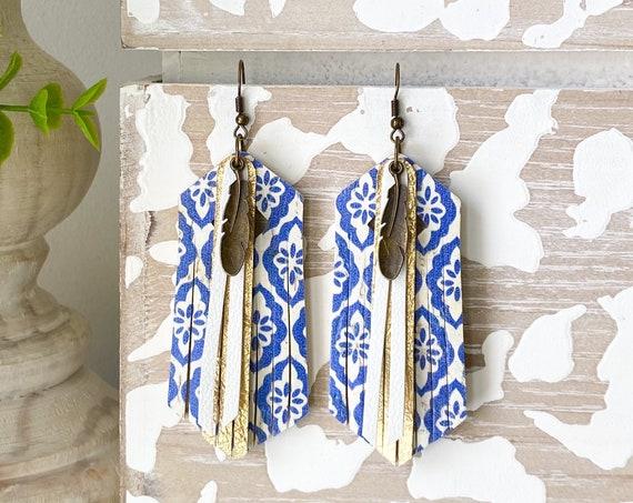 Blue Boho Leather Fringe Earrings - Cork Leather Earrings, Leather Fringe Earrings, Gold Leather Earrings, Turkish Tile Earrings, 3.5 Inches