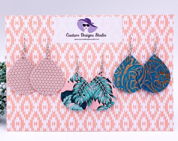 Pink Tropics Teardrop Trio Leather Earrings - Tropical  Teardrop, Pink Leather, Aqua Leather Turquoise Leather, Embossed Leather