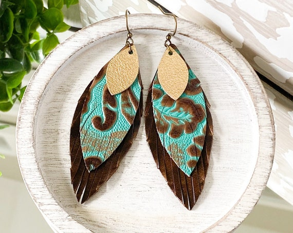 Turquoise Leather Feather Earrings, Western Leather Earrings, Riviera Embossed Leather Earrings, Boho Earrings, Brown & Aqua Feathers