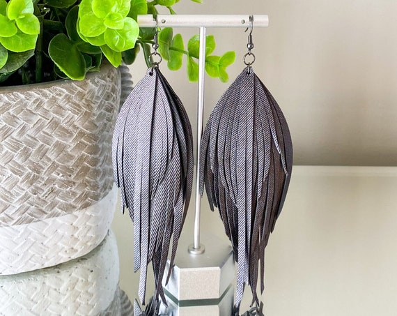 """Charcoal Leather Feather Earrings - Leather Feather Earrings, Leather Fringe Earrings, Genuine Leather Earrings, Boho Leather Earrings, 5.5"""""""