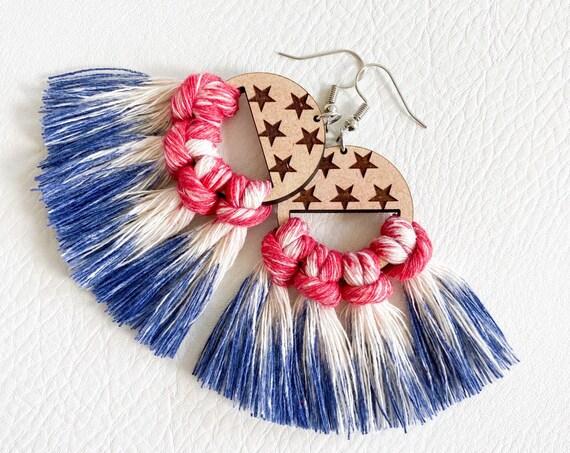 4th of July Earrings, Tie Dye Macrame Earrings, Patriotic Earrings, Red White and Blue Earrings, Macrame Wood Earrings, Tie Dye Earrings