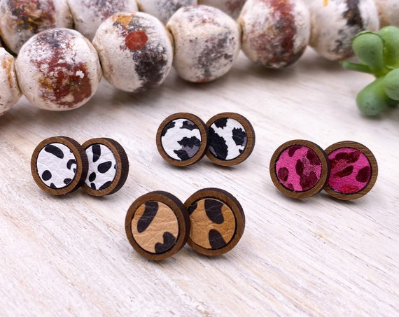 Cheetah Stud Earrings - Wood and Leather Earrings, Leather Stud Earrings, Leather and Wood Suds, Stud Earrings, Boho Earrings