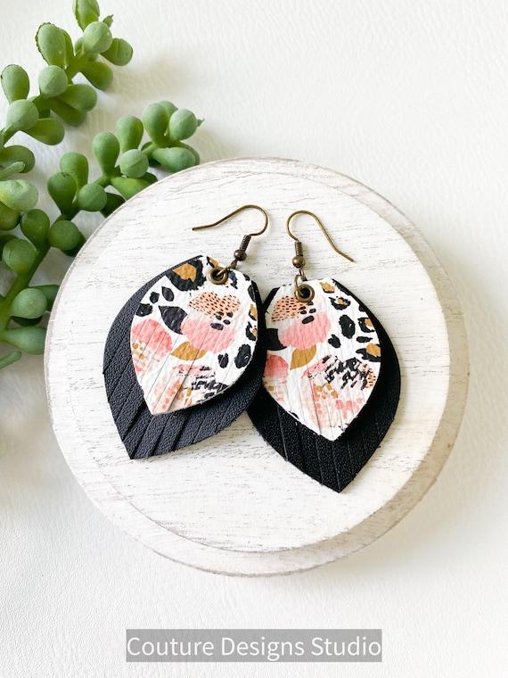 Leather Fringe Earrings - Pink Cheetah Floral Leather Earrings, Boho Earrrings, Genuine Leather Earrings, Black Leopard Leather Earrings