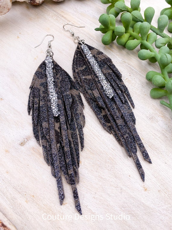 Glitter Camo Feather Earrings - Leather Feather Earrings, Leather Fringe Earrings, Genuine Leather Earrings, Boho Leather Earrings, 5.5""