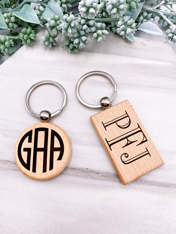 Monogram Wood Key Chain - Monogrammed Key Chain, Personalized, Solid Wood, Initial Engraved, Personalized Key Chain, Custom Monogramming