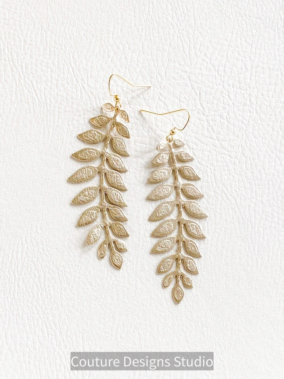 Gold Leather Leaf Earrings, Metallic Leather Earrings, Gold Leaf Earrings, Elegant Earrings, Delicate Gold Earrings, Statement Earrings