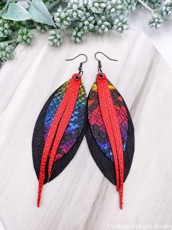 Leather Feather Snakeskin Earrings - Genuine Leather Earrings, Boho Feather Earrings, Black and Rainbow Snakeskin Leather Earrings