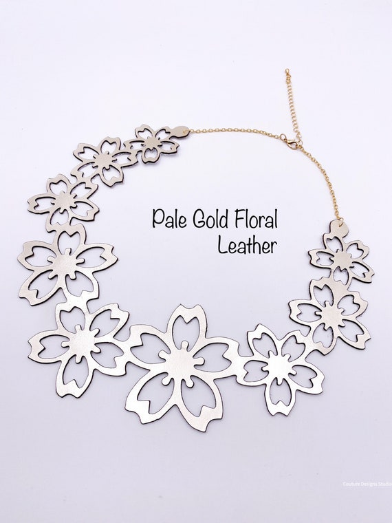 Pale Gold Leather Necklace - Metallic Leather Choker, Flower Bib Necklace, Laser Cut Leather Jewelry