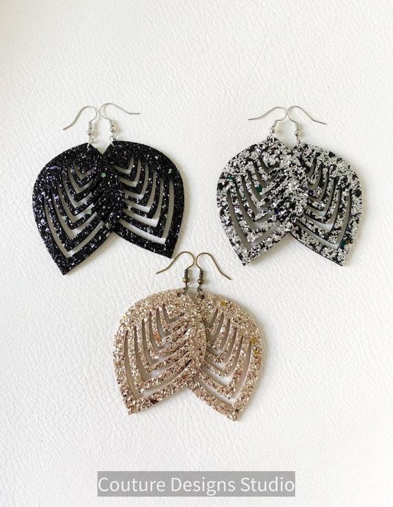 Glitter Leather Teardrop Earrings - Glitter Teardrop Earrings, Genuine Leather Earrings, Leather Leaf Earrings, Glitter Leather Earrings