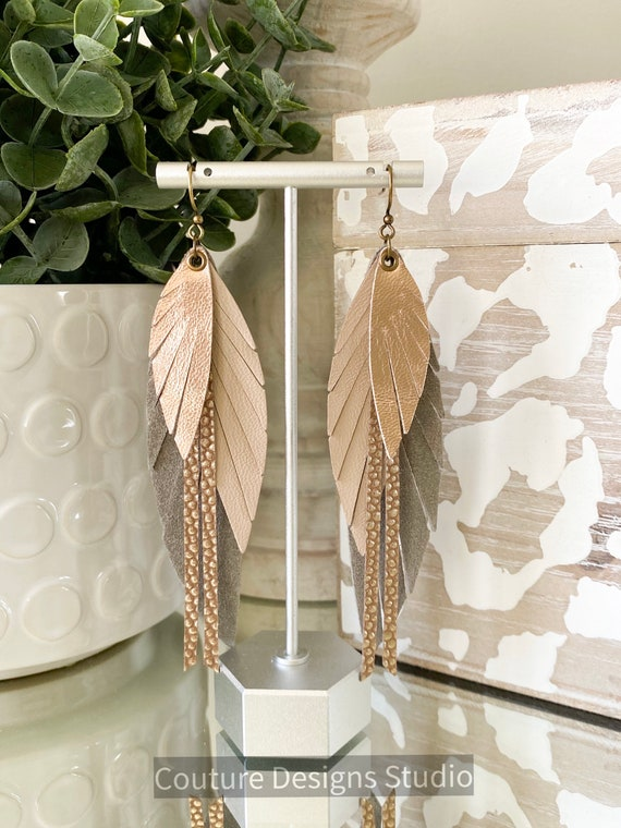 Neutral Nude Leather Feather Earrings - Leather Fringe Earrings, Leather Feather Earrings, Boho Earrings, Genuine Leather Earrings, 5 Inch