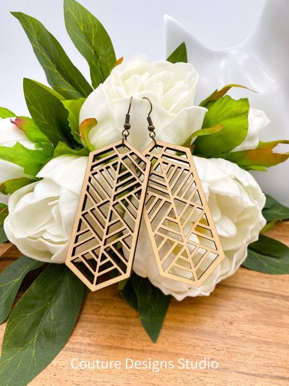 Geometric Wood Earrings - Laser Cut Earrings, Wood Earrings, Wooden Earrings, Boho Wood Earrings, Geometric Earrings, Boho Earrings