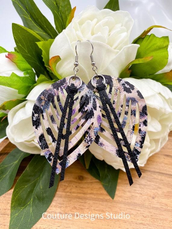 Nude Leopard Leather Earrings - Genuine Leather Earrings, Leather Leaf Earrings, Leather Teardrop Earrings, Leather Fringe Earrings