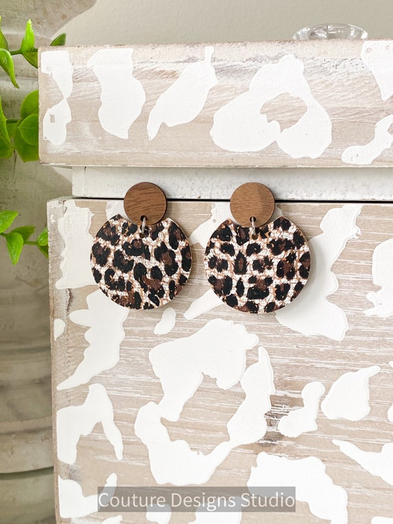 Circle Leather Earrings, Modern Circle Earrings, Circle Cork Leather Post Earrings, Boho Earrings, Leather and Wood Circle Studs