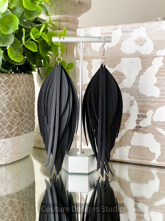 Black Faux Leather Feather Earrings - Black Faux Leather Earrings - Leather Fringe Earrings- Black Feather Leather Earrings