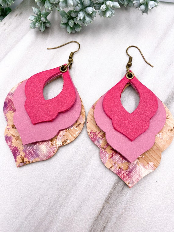 Hot Pink Leather Cork Earrings - Arabic Hoop Earrings, Cork on Leather Earrings, Layered Leather Earrings, Hot Pink Leather Earrings