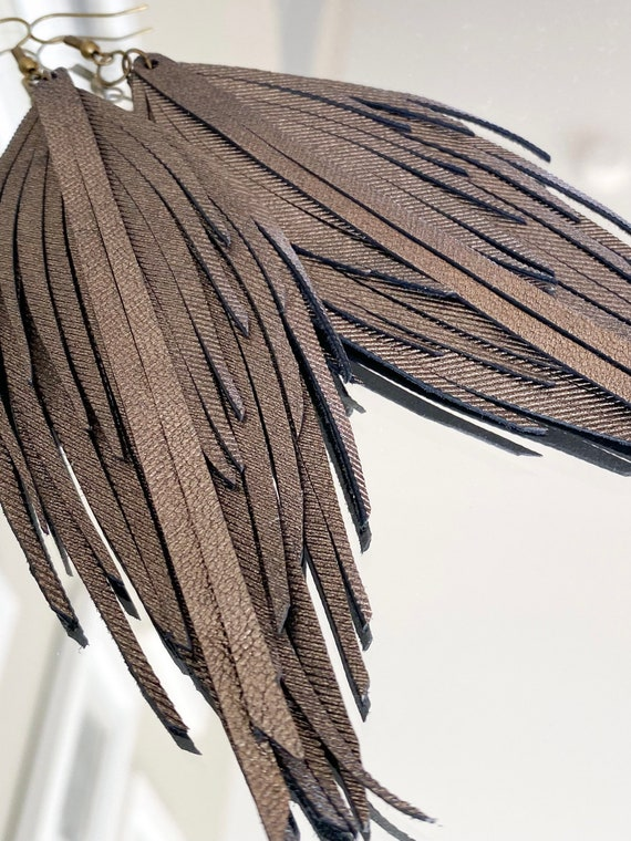 """Bronze Leather Feather Earrings - Leather Feather Earrings, Leather Fringe Earrings, Genuine Leather Earrings, Boho Leather Earrings, 5.5"""""""