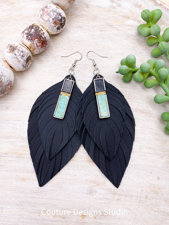 Black Leather Feather Earrings - Black Leather Feathers, Leather Fringe Earrings, Genuine Leather Feather Earrings, 4.5 Inches