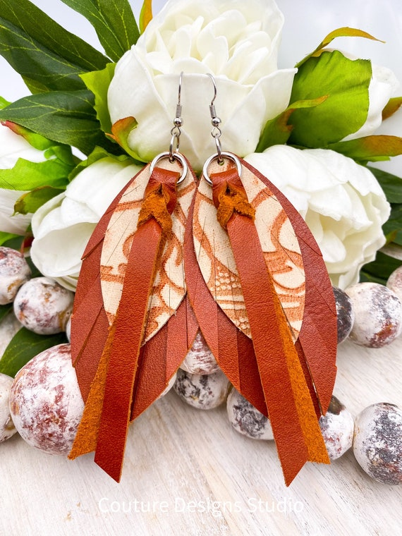 """Burnt Orange Leather Feather Earrings - Leather Feather Earrings, Boho Earrings, Leather Fringe Earrings, Genuine Leather Earrings, 4.75"""""""