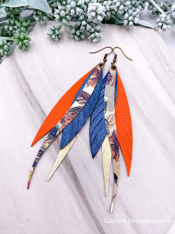Gold Leather Feather Earrings, Layered Feather, Long Leather Earrings, 5 Inch Genuine Leather, Gold, Orange, Metallic, Blue, Sea Blue