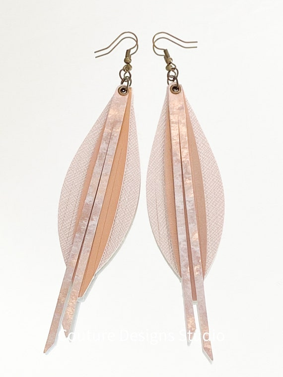 Nude Pink Faux Leather Fringe Earrings - Leather Feather Earrings, Boho Earrings, Fringed Faux Leather Feather Earrings, 4 Inch