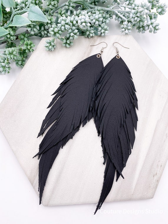 Solid Black Leather Feather Earrings - 7 Inch Leather Earrings, Long Leather Feather Earrings, Black Genuine Leather Earrings